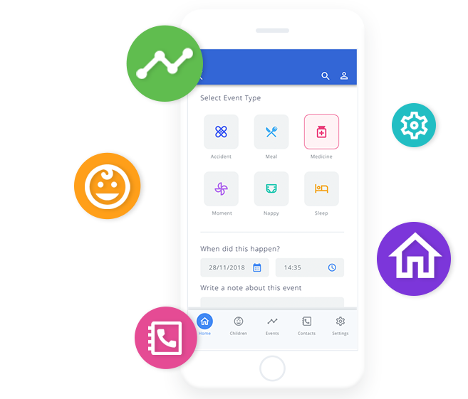 foundations childcare app with daily diary event icons