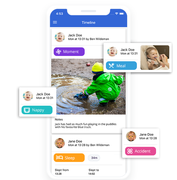 ParentZone childcare app daily diary timeline