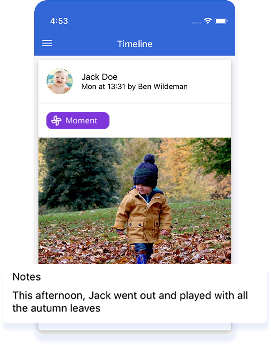 ParentZone mobile app with child events and notes